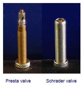 Schrader valve and Presta valve